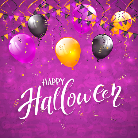 Text Happy Halloween on an purple background with holiday images, colorful balloons, pennants, streamers and confetti, illustration. Illustration
