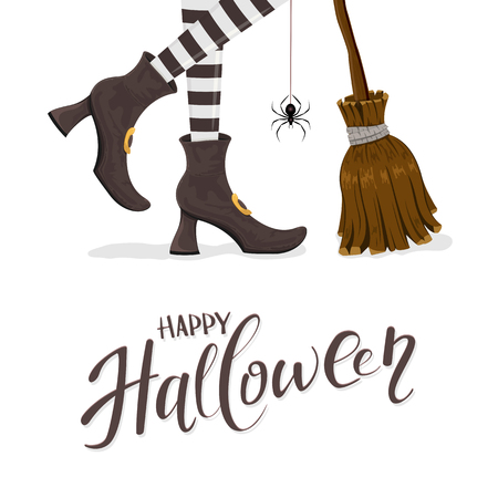 Text Happy Halloween with witches legs in black shoes, broom and spider on white background, illustration.