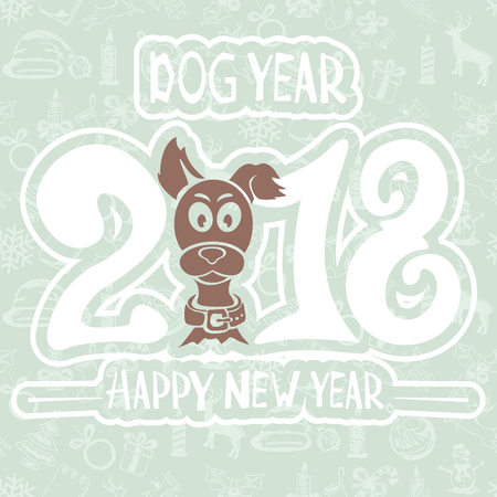 chinese astrology: Text Happy New Year 2018 and funny dog on blue background, illustration. Illustration
