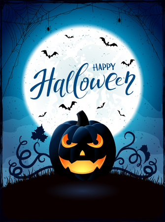 Halloween background with pumpkin. Text Happy Halloween on blue night sky with full Moon and Jack O Lantern, illustration.