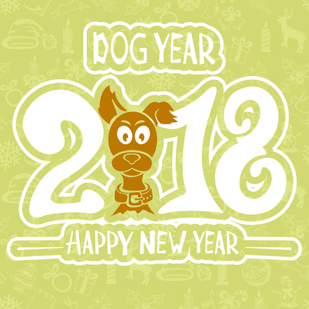 chinese astrology: Text Happy New Year 2018 and funny dog on green background, illustration.