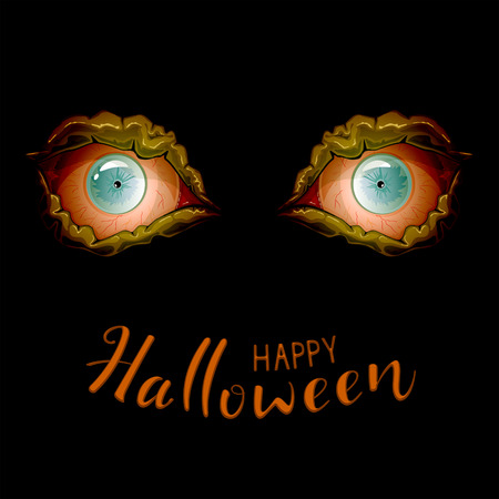 Halloween background with evil eyes on black background. Text Happy Halloween, illustration.