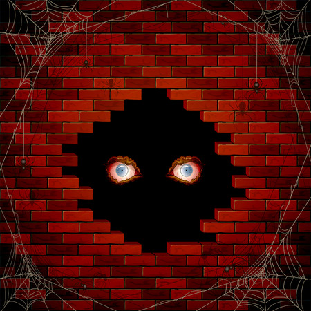 black hole: Halloween background with evil eyes in the hole of the brick wall and black spiders on the spiderweb, illustration.