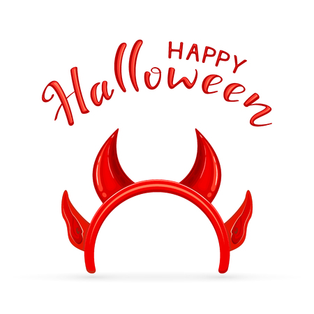 Lettering Happy Halloween and red mask with horns and ears of the demon isolated on white background, illustration.