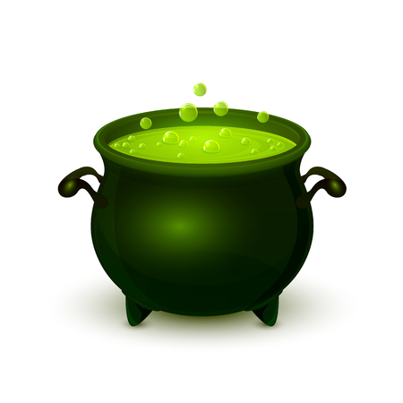 Halloween witches cauldron with green potion and bubble isolated on white background, illustration. Illustration