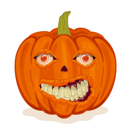 Halloween pumpkin with evil eyes and smile. Scary Jack O Lantern isolated on white background, illustration. Illustration