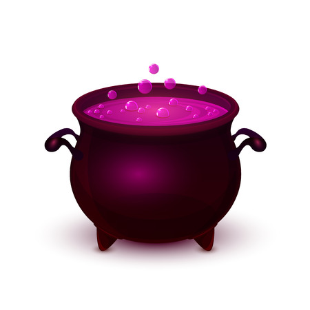 spells: Halloween witches cauldron with purple potion and bubble isolated on white background, illustration. Illustration