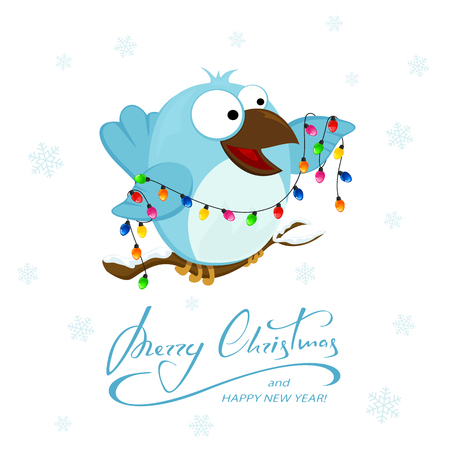 Happy bird with Christmas light on white background with falling snowflakes. Lettering Merry Christmas and Happy New Year on snowy background, illustration.