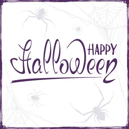 Abstract Halloween background with spiders and cobwebs. Lettering Happy Halloween on white background, illustration. Illustration