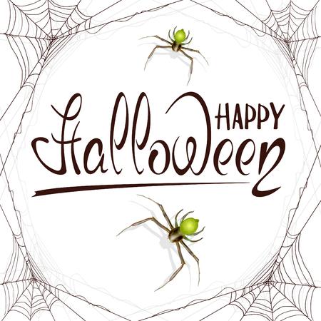 Abstracte Halloween-achtergrond met groene spinnen en zwarte spinnewebben. Het van letters voorzien Gelukkig Halloween op witte achtergrond, illustratie.