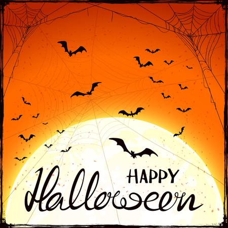 Abstract orange Halloween with Moon, cobwebs and flying bats.