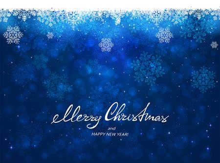 テキスト メリー クリスマスと幸せな新年雪片、図で青の背景に。