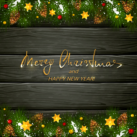 Text Merry Christmas and Happy New Year on black wooden background with holiday decorations.