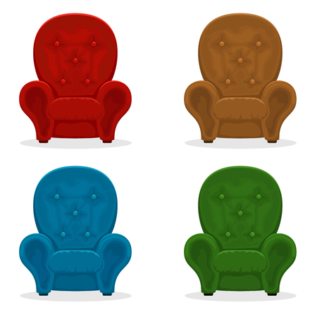 Set of colorful armchairs isolated on white background, illustration.