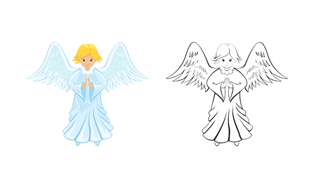 Little Christmas Angel isolated on white background. Page for coloring book, illustration.