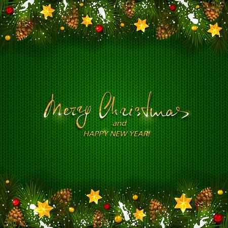 テキスト メリー クリスマスと幸せな新年休日の装飾と緑のニットの背景。雪、マツ円錐形、黄金のクリスマスの星やビーズ、イラスト装飾小ぎれい