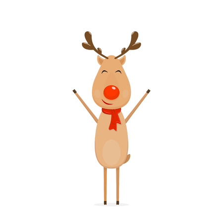 cute: Happy Christmas deer with red nose and scarf isolated on white background, illustration.