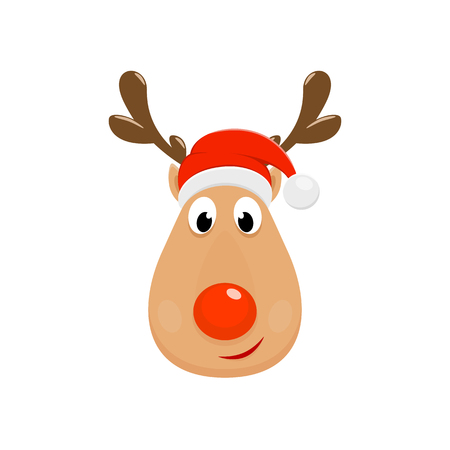 Christmas character Rudolph. Head of Happy reindeer with red nose isolated on white background, illustration.