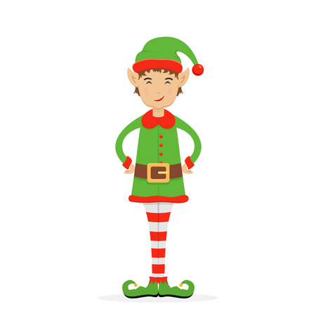 Little Christmas elf in a green holiday costume with hat and shoes, isolated on white background, illustration. Illustration