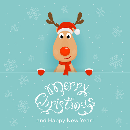 Christmas character deer behind a blue banner Vectores