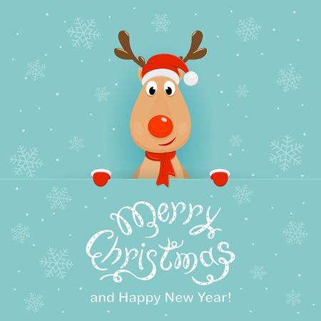 Christmas character deer behind a blue banner Stock Illustratie