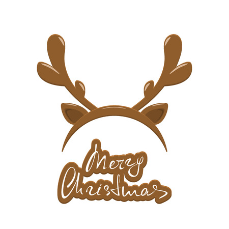 Merry Christmas with reindeer antler Illustration