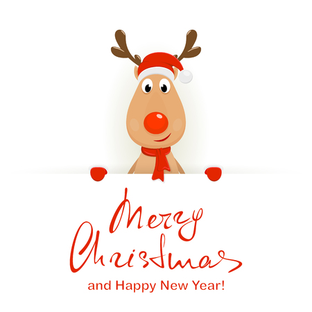 Christmas deer with Merry Christmas and Happy New Year lettering
