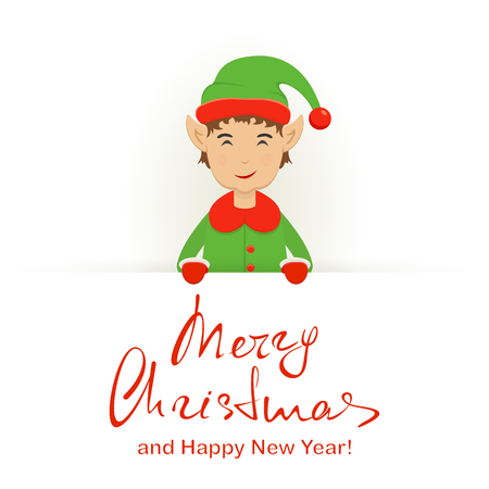 santa helper: Happy elf with Merry Christmas and Happy New Year lettering illustration.