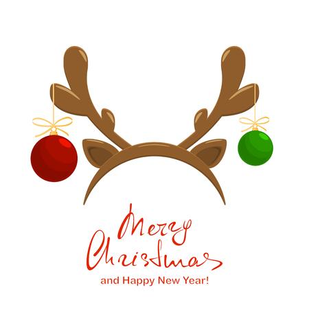 Christmas balls with reindeer antlers isolated vector