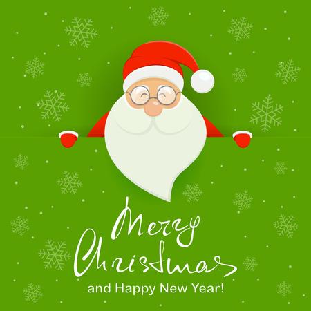 Feliz Papá Noel detrás de una pancarta verde con letras Feliz Navidad y feliz año nuevo, ilustración.