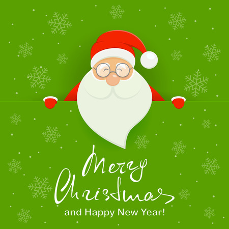 Happy Santa Claus behind a green banner with lettering Merry Christmas and Happy New Year, illustration. Иллюстрация
