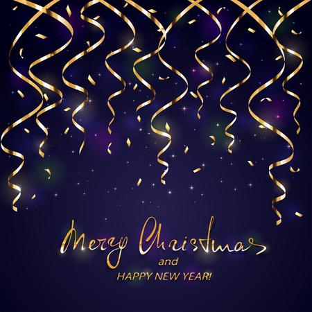 황금 글자 메리 크리스마스와 반짝이 휴가 장식으로 행복 한 새 해. 골드 크리스마스 깃발 및 색종이 조각 검은 배경에.