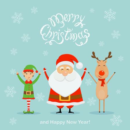 Joyeux père Noël avec elfe et renne. Texte joyeux Noël et bonne année avec des flocons de neige tombant sur fond bleu, illustration.