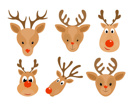 Set of Christmas deer. Head of Happy reindeer with red nose isolated on white background, illustration. Illustration