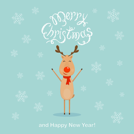 Happy reindeer and falling snowflakes with text Merry Christmas and Happy New Year on blue background, illustration. Illustration