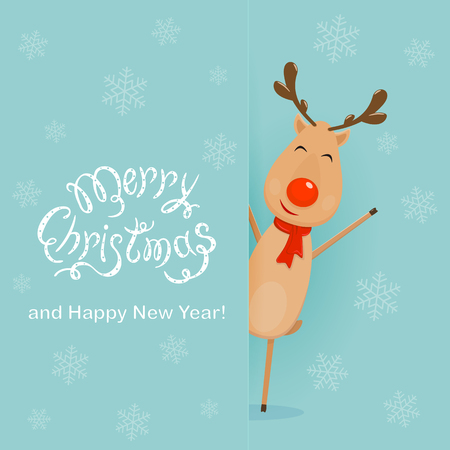 Christmas character deer standing behind a blue banner with snowflakes and lettering Merry Christmas and Happy New Year. Happy reindeer with red nose and scarf, illustration. Illustration