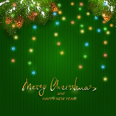 Colorful Christmas lights with fir tree branches and pine cones vector illustration. Illustration