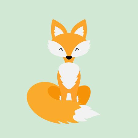 Little red Fox on green background, illustration.