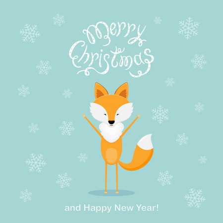 Happy fox and falling snowflakes with text Merry Christmas and Happy New Year on blue background. Illustration