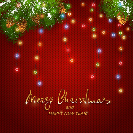 Text Merry Christmas and Happy New Year with holiday decorations. Colorful Christmas lights with fir tree branches and pine cones on red background.