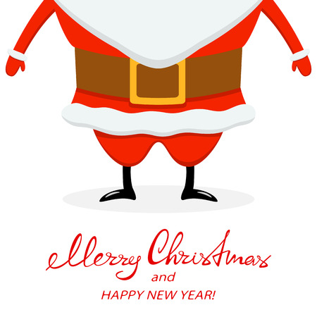 Lettering Merry Christmas and Happy New Year with Santa in black shoes on white background.