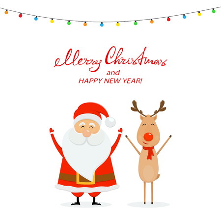 Happy Santa Claus with reindeer and Christmas lights. Text Merry Christmas and Happy New Year on white background, illustration.