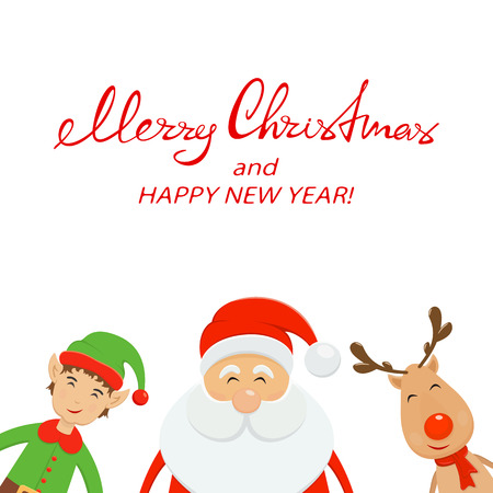 Red text Merry Christmas and Happy New Year on white background. Happy Santa Claus with little elf and reindeer, illustration.