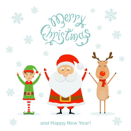 Happy Santa Claus with little elf and reindeer. Text Merry Christmas and Happy New Year with falling snowflakes on white background, illustration.