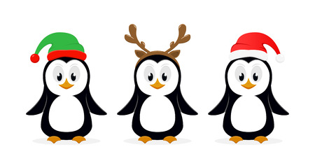 Christmas theme. Three little cute penguins with Santa hat, elf hat and reindeer antlers isolated on white background, illustration.