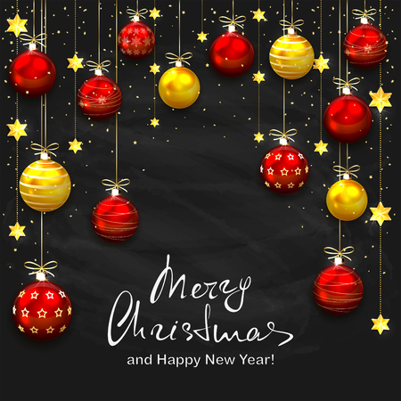 Christmas balls and golden stars on black chalkboard background. Holiday lettering Merry Christmas and Happy New Year, illustration.