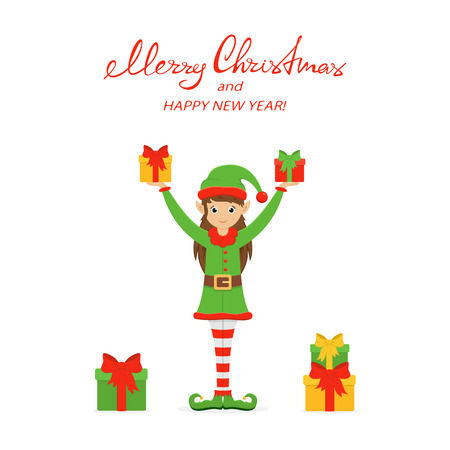 Cute girl in a green holiday costume with hat and shoes. Little Christmas elf with gift boxes, isolated on white background, illustration. Illustration