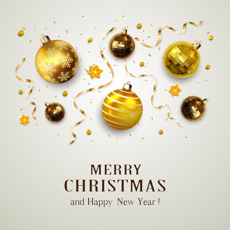 Gold christmas balls with golden streamers and stars on gray background vector illustration. Иллюстрация