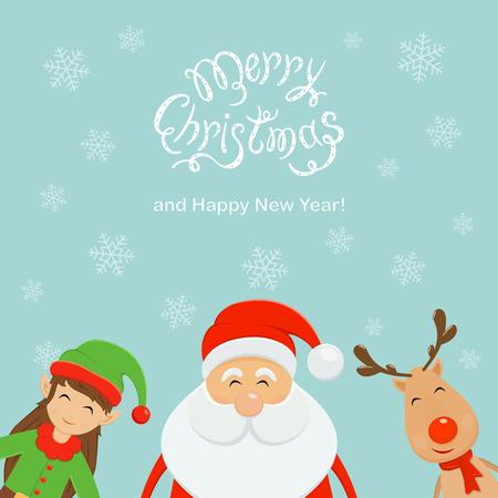 Tekst vrolijke Kerstmis en gelukkig nieuw jaar met dalende sneeuwvlokken op blauwe achtergrond de Kerstman met elf en rendier vectorillustratie.