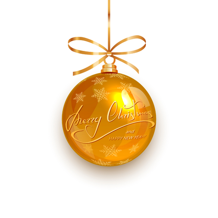 Gold Christmas ball with golden snowflakes and lettering Merry Christmas and Happy New Year, isolated on white background, illustration.